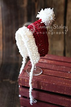 Newborn+Santa+pixie+gnome+hat+with+ties++by+HeartstringsbyK,+$20.00