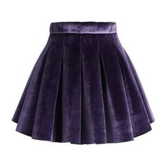 Chicwish Glossy Velvet Pleated Mini Skirt in Purple ❤ liked on Polyvore featuring skirts, mini skirts, short purple skirt, pleated miniskirt, short mini skirts and pleated skirt