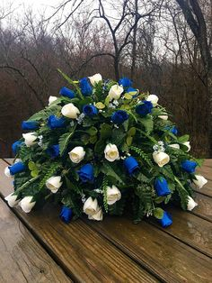 Cemetery Flowers Flower arrangement For Memorial Day for Dad for Brother Memorial Gifts Loss o Casket Flowers, Grave Flowers, Cemetery Flowers, Funeral Flowers, Silk Flowers, Memorial Gifts, Memorial Day, Bouquet Azul, Funeral Sprays