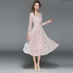 af98d6a0556 Women Casual Lace Dress New 2018 Autumn Fashion Long Sleeve V-neck Elegant  Slim A-line Women s Party Dresses