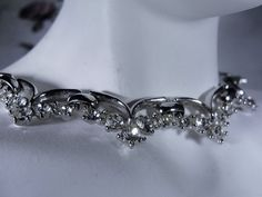 1960s Estate Clear Rhinestone Scalloped Choker Set in a Silver Tone Metal – Necklace by CarolsVintageJewelry on Etsy
