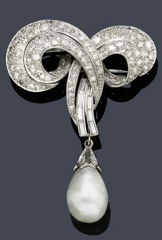 AN ART DECO NATURAL PEARL AND DIAMOND BROOCH, ca. 1930. The brooch surmount with scrolled leaf motifs set throughout with numerous single- and baguette-cut diamonds, suspending a pear-shaped natural pearl drop.