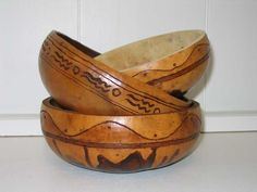 turning a gourd into serving bowls