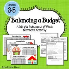 This activity is great for - graders as an enrichment or extension activity for addition and subtraction of whole numbers. Students will b. Money Activities, Math Resources, Math Enrichment, Subtraction Activities, Math Place Value, Adding And Subtracting, 5th Grade Math, Homeschool Math, Financial Literacy