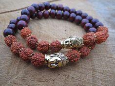 Tears Of Shiva Rudraksha Buddha Couples Bracelets Spiritual Jewellery TierraCast Buddha Natural Wood Bead Grain Zen Mala Bracelets - pinned by pin4etsy.com