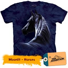 Horse T-Shirt by The Mountain. Beautiful moonlit horse t-shirt.The Mountain T Shirts are cotton Tees printed with environmentally friendly water based inks. Images can be ironed over without any problems. 3d T Shirts, Branded T Shirts, Unisex Clothes, Horse Shirt, Plus Size T Shirts, Tshirts Online, Just In Case, Graphic Tees, Horses