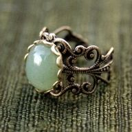 Adventurine Filigree Ring  The band itself is a tad wide, but I love the design, nonetheless.