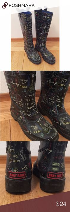 DKNY rainboots Super adorable DKNY rainboots with urban doodle design . 100% rubber, worn a handful of times . No major flaws other than one loop at the top that tore (you can cut all the loops to even it out -- it'll be as if it never happened !)  . Priced accordingly . DKNY Shoes Winter & Rain Boots