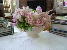 Pink Roses, Hyacinth, Astilbe and Green Helleborus