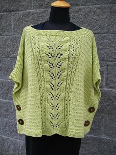 Ravelry: Summer Leaf Poncho-Muster von Michele C Meadows - special knitting and crochet patterns Easy Knitting Patterns, Knitting Stitches, Hand Knitting, Poncho Patterns, Crochet Patterns, Crochet Poncho, Knitted Shawls, Crochet Vests, Crochet Edgings