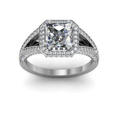 Wide Split Shank Vintage Style Engagement Ring $5910    #engagement #engagementrings #jewelry #artdeco #weddings #uniqueengagementrings