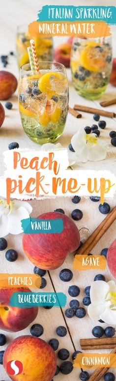 Summer never tasted so sweet! Make this Peach Pick-Me-Up for your next backyard bash. Your guests will love it! Refreshing Drinks, Summer Drinks, Fun Drinks, Healthy Drinks, Beverages, Healthy Snacks, Healthy Recipes, Cooking Recipes, Detox Drinks