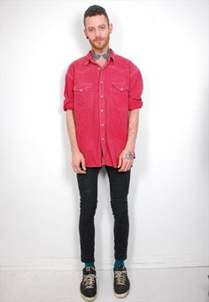 Vintage red Levis denim shirt