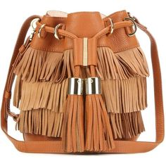 See By Chloé Vicki Small Fringed Suede and Leather Bucket Bag (€405) ❤ liked on Polyvore featuring bags, handbags, shoulder bags, brown, brown fringe purse, fringe shoulder bag, leather shoulder handbags, leather fringe handbag and leather handbags