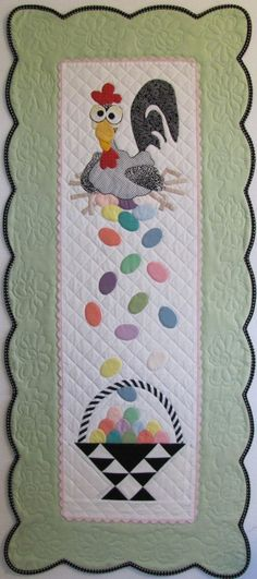 Esther the Easter Chicken Table Runner or Wall by quiltingupacreek