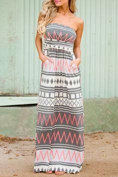 Strapless Geometric Print Sleeveless Dress: Maxi Dresses   ZAFUL