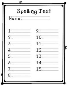 Spelling Test Template For Primary