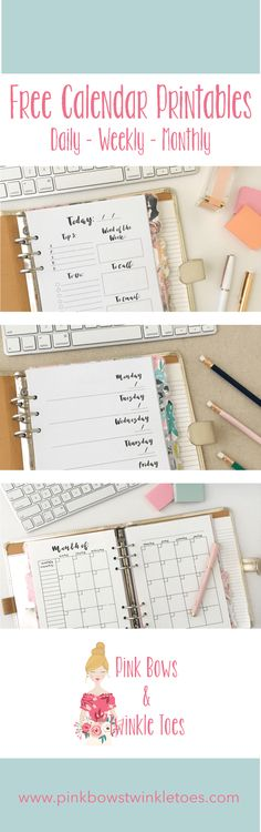 Calendar Roundup - Free Planner Printables - Pink Bows & Twinkle Toes If you are establishing work o Free Printable Calendar, Printable Planner, Free Printables, 2018 Planner, Happy Planner, Pink Planner, Menu Planners, Planner Stickers, Pages D'agenda