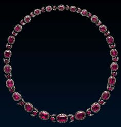 Rococo Ruby Diamond Necklace, late 18th century, gold, silver, diamonds, rubies, Some are designed as garlands of flowers, and as ribbons tied into bowknots, but others, such as this, rely for their effect on the beauty of the stones. Here, the velvety glow from the rose red rubies is enhanced by the sparkle from the rose-cut diamonds, and the flower buds between the clusters add the charm of naturalism to the simple sequence of clusters.