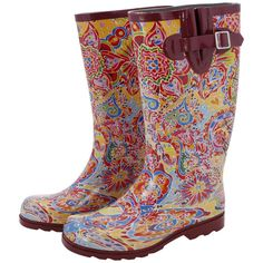 Blooming flowers and intricate butterflies stand out in these pink paisley rain boots, sure to brighten any dark and rainy day! Featuring traction soles and an adjustable buckle on the side for the perfect fit.