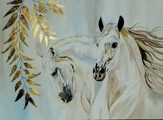 Araber Pferde mit Blattmetall gold #painting #acryl #art #horse #gold Polo Horse, Floral Paintings, Equine Art, Horse Art, Canvas Art Prints, Horses, Abstract, Gold, Animals