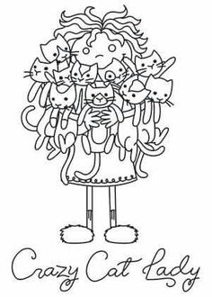 Cat Lady embroidery pattern from urban threads Cat Embroidery, Hand Embroidery Patterns, Machine Embroidery, Embroidery Designs, Cat Coloring Page, Coloring Books, Coloring Pages, Colouring, Crazy Cat Lady