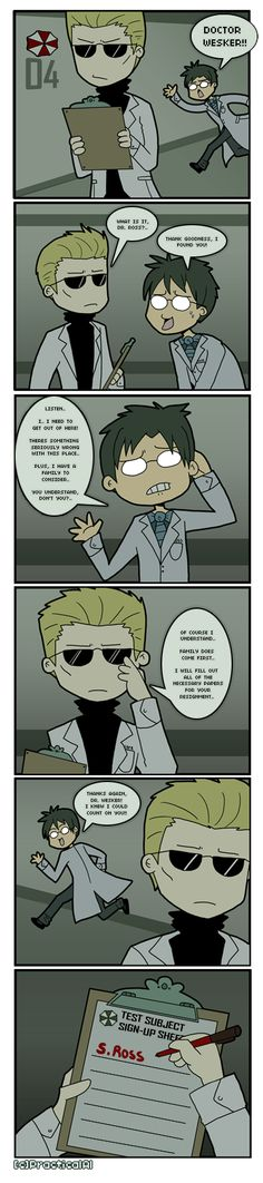 This comic is dedicated to *Resident-evil-STARS for making me such an awesome giftart! I know she loves Birkin and Wesker, and so I got the idea when I looked at this recent submission of hers: . I...
