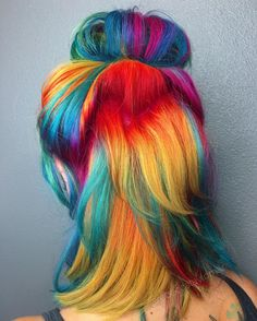 Last but not least of @darthlux Messy buns and @kenraprofessional Neons FTW #hairstyle #messybun #rainbowhair #colorfulhair #neonhair