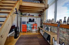 Noble Court Lofts - Unit #413   Toronto LOFTS Small Space Living, Living Spaces, Toronto Lofts, Centre Island, Exposed Brick Walls, Open Concept Kitchen, Wood Ceilings, Hardwood Floors, Condo