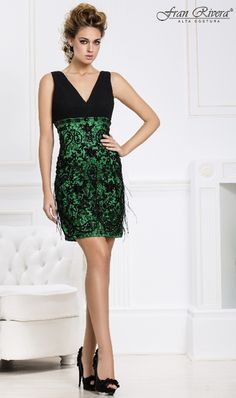 Vestido de cóctel verde esmeralda de Fran Rivera Alta Costura