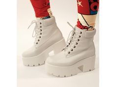 White Tractor sole lace up Ankle Boots