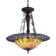 "Tiffany-style 3 Light Inverted Ceiling Pendant 22"" Shade"