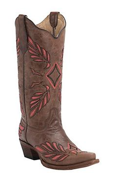 Corral Circle G Women's Brown with Coral & Black Feather Embroidery Snip Toe Western Boots   Cavender's