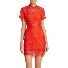 Lovers and Friends Mon Amour Lace Dress ($190) ❤ liked on Polyvore featuring dresses, red, lovers friends dresses, red lace dress, lacy red dress, red lace cocktail dress and lace lined dress
