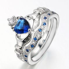 White Gold Plated Claddagh Promise Ring With Cubic Zirconia Blue Sapphire Stone Crown Wedding Ring, Irish Wedding Rings, Heart Wedding Rings, The Sapphires, Sapphire Stone, Blue Sapphire, Sapphire Wedding, Ring Set, Ring Verlobung