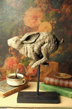 A handsome woodland rabbit is captured mid-stride to enhance side tables and shelves. Cast from an antique in faux wood resin. Rabbit Rabbit Rabbit, Jack Rabbit, Rabbit Sculpture, Sculpture Art, Hare Pictures, Bunny Art, Ceramic Animals, Woodland Creatures, Animal Sculptures