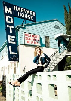Tagged with Elizabeth Olsen. More than 16 StyleSaints retore this photograph. Elizabeth olsen, vs magazine spring summer 2012, leather star print jacket, skinny black pants, mule heels, cyan.