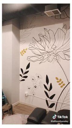 Wall Murals Bedroom, Mural Wall Art, Home Wall Painting, Diy Painting, Hand Painted Walls, Painted Flowers On Wall, Painted Wall Murals, Wall Art Designs, Wall Design
