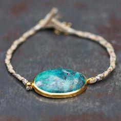 Bracelet Stone turquoise lien tressé par 5 Octobre pour l'Atelier des Bijoux Créateurs.