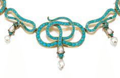 19th century turquoise, ruby, and pearl snake necklace. Victorian era. Via Diamonds in the Library.