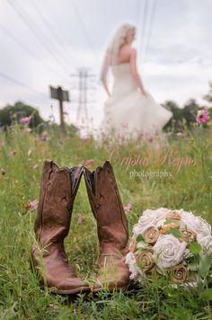 Rustic, Wedding, cowboy boots, DIY, bouquet, bride, bridal, sneak peek; Crystal Reyns Photography: Amber Bridal Sneak Peek l Richmond, Va Wedding Photographer