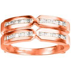 14k Gold 1/3ct TDW Diamond Traditional X-style Jacket Ring Enhancer (G-H, SI2-I1) (14k Rose Gold, Size 4.50), Women's, Size: 4.5