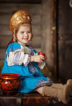 """A little Russian girl in a traditional costume and in a headdress """"Kokoshnik"""". by susangir Kids Around The World, We Are The World, People Of The World, Precious Children, Beautiful Children, Beautiful People, Russian Beauty, Russian Fashion, Folk Costume"""