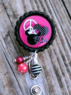 Nurse Pink Mickey Inspired RN ID Badge Reel Bottle Cap Jewelry Nursing Badge Holder on Etsy, $12.00