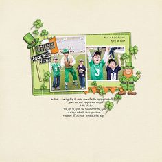 St Patricks digital scrapbooking page   St Patrick's Day scrapbook layout ideas   Kate Hadfield Designs Creative Team scrapbook page by Carolee