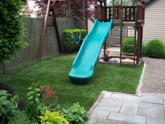Southwest Greens Artificial Turf for your Backyard Playground. Perfect for small spaces!