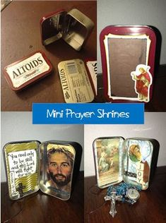 Look to Him and be Radiant: Mini Prayer Shrines I like this idea of placing the rosary inside for the students - they can create their own collage from supplies of prayer cards, old calendars and their own drawings then place the rosary inside for them to take home while studying the rosary