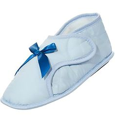 Edema Slippers for Swollen or Bandaged Feet  Light Blue S 56 ** Click image to review more details.