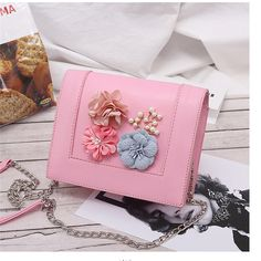 Floral Pink Crossbody Bags Square PU Shoulder Bags Cheap Crossbody Bags, Pink Crossbody Bag, Shoulder Training, Messenger Bag, Shoulder Bags, Floral, Style, Swag, Shoulder Workout