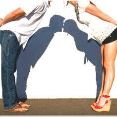 Shadow kiss... good idea for engagement pics